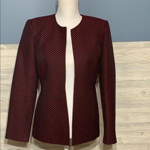Red and black open front blazer